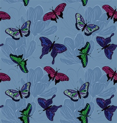 Seamless pattern with butterflies vector