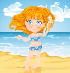 Girl listen sound of the sea in shell on beach vector