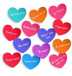 Set of paper hearts vector