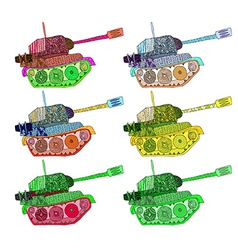 Set tanks hippie colors vector