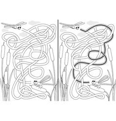 Dragonfly maze vector