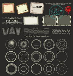Set of post stamp symbols vector