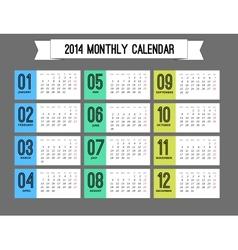 Stylish calendar to a new 2014 year vector