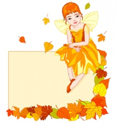 Autumn fairy place card vector