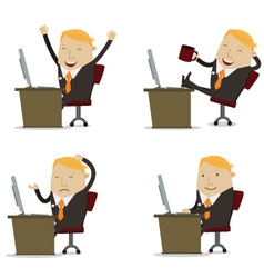 Businessman on computer vector