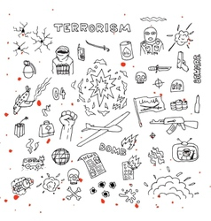 Hand drawn terrorism doodles with blood splatters vector