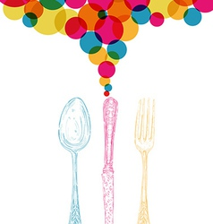 Diversity colors retro cutlery sketch style vector