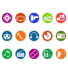 Multimedia round button icons set vector