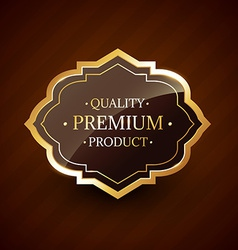 Quality premium product design golden label badge vector