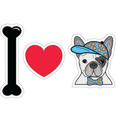 I love french bulldog hipster with a hat vector