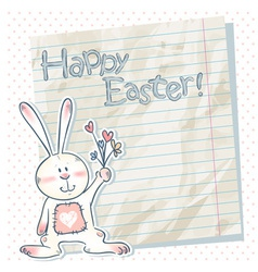 Easter cartoon bunny on a notebook scrap paper vector