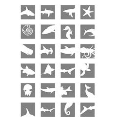 Marine mammals icons vector