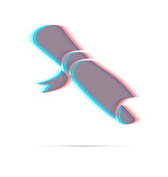 Diploma anagliph icon with shadow vector