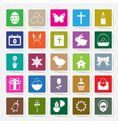 Easter icons set square sticker vector