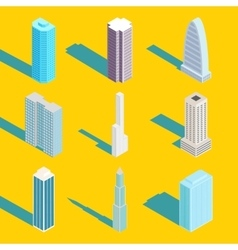 Skyscrapers isometric city buildings vector