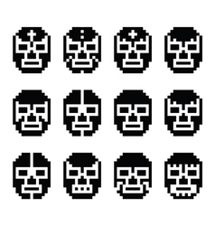 Lucha libre luchador pixelated mexican mask vector