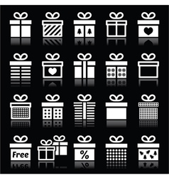 Present gift box white icons on black vector