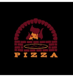 Brick oven pizza on black background vector