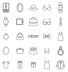 Dressing line icons on white background vector