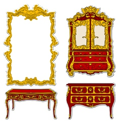 Rococo furniture vector