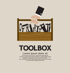 Hand holding a mechanic toolbox vector