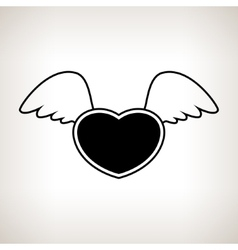 Silhouette heart with wings vector