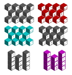 Drum and bass cubic square fonts in different colo vector