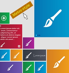 Paint brush artist icon sign metro style buttons vector
