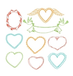 Doodle hand drawn heart shape frames and floral vector