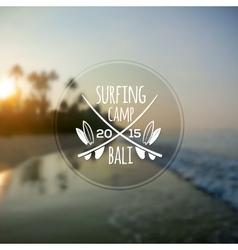 White surfing camp logo on blurred ocean sunrise vector