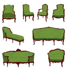 Authentic rococo furniture vector