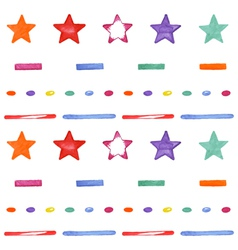 Cute seamless pattern with colored stars happy vector