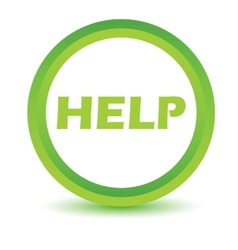 Green help icon vector