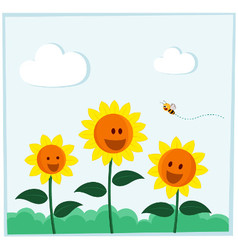 Smiling sunflower vector