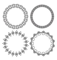 Monochromatic ethnic round ornamental vector