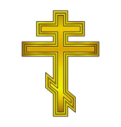 Religious orthodox gold cross vector