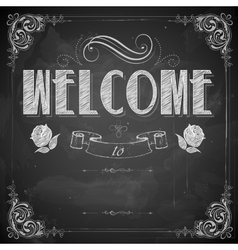 Welcome written on chalkboard vector