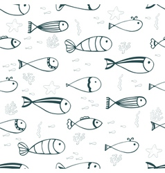 Cute seamless pattern with fishes and corals vector