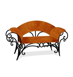 A wooden bench with delicate legs vector
