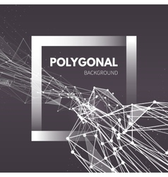 Wireframe mesh polygonal background wave with vector