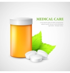 The container and pills eco medicine vector
