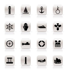 Simple marine and sea icons vector