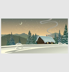 Forest winter landscape with a hut vector