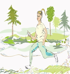 Woman jogging vector