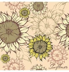 Seamless pattern - field of sunflowers vector