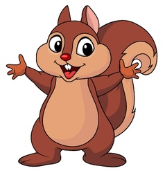 Squirrel cartoon waving hand vector