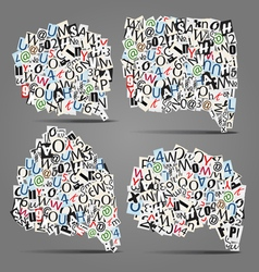 Set of talk bubbles of letters vector