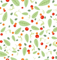 Green leaves seeds floral spring seamless pattern vector