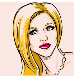 Portrait adult fashionable woman with yellow hair vector