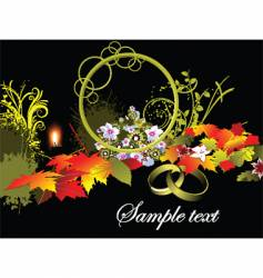Autumn background with wedding rings vector